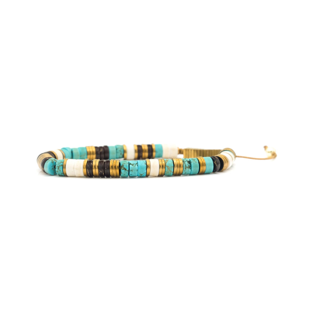 Turquoise, Coconut Wood & Hematite Heishi Bracelet | To Write Love On Her Arm