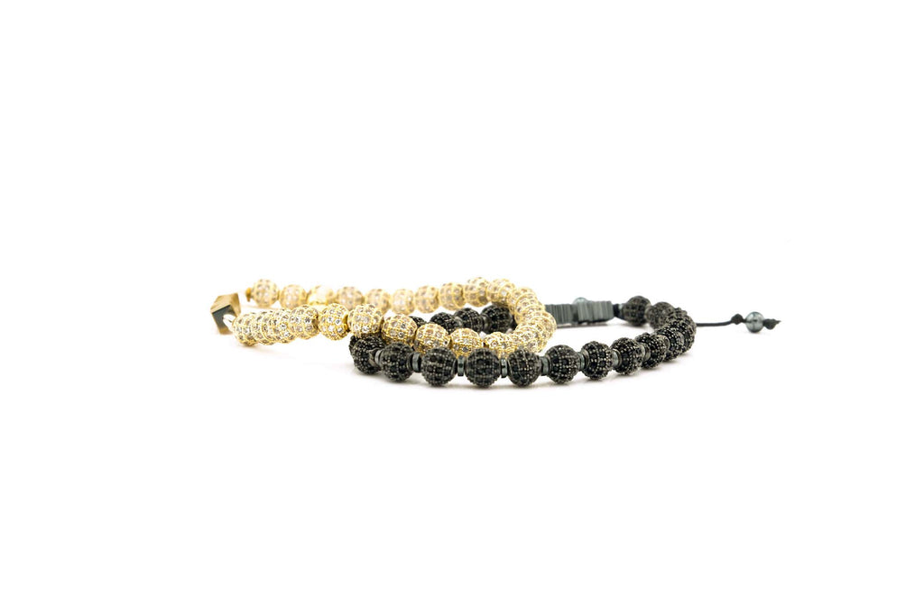Handcrafted designer stone bracelet with gold & black cz diamond beads - popvibe