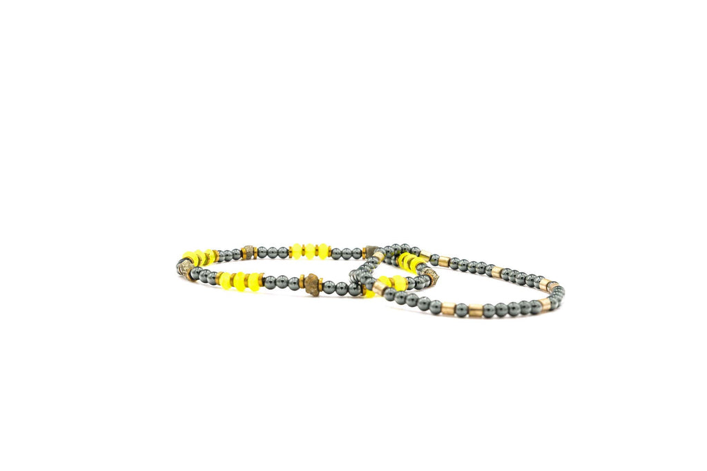 Handcrafted designer stone mini heishi bracelet with black hematite brass beads - popvibe