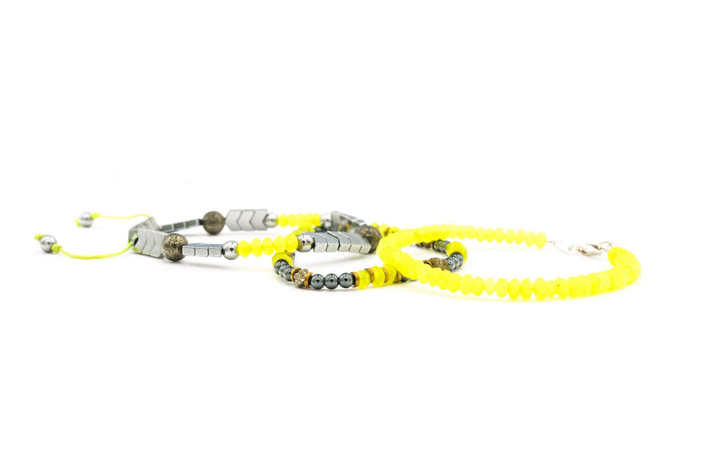 Handcrafted designer stone bracelet with neon jade silver hematite snake beads - popvibe