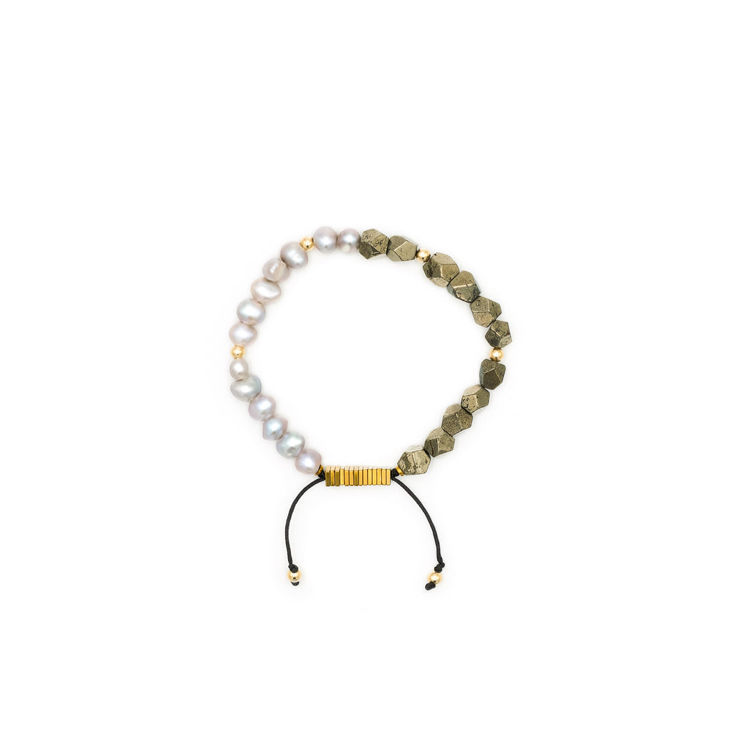 Raw Pyrite & Fresh Water Pearl Bracelet | Ali Forney Center