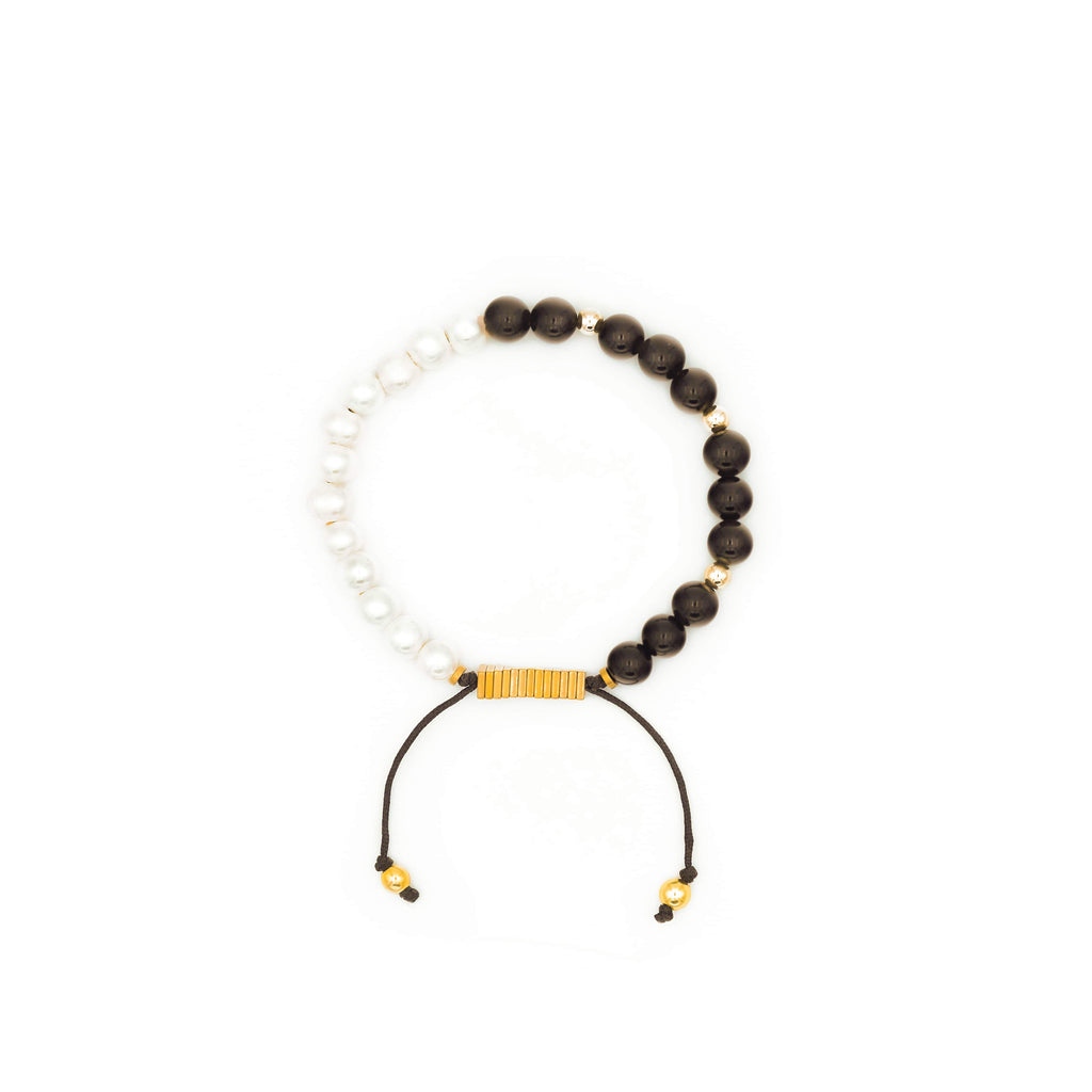 Handcrafted designer stone jewelry pearl black onyx bracelet with a cause charity - popvibe