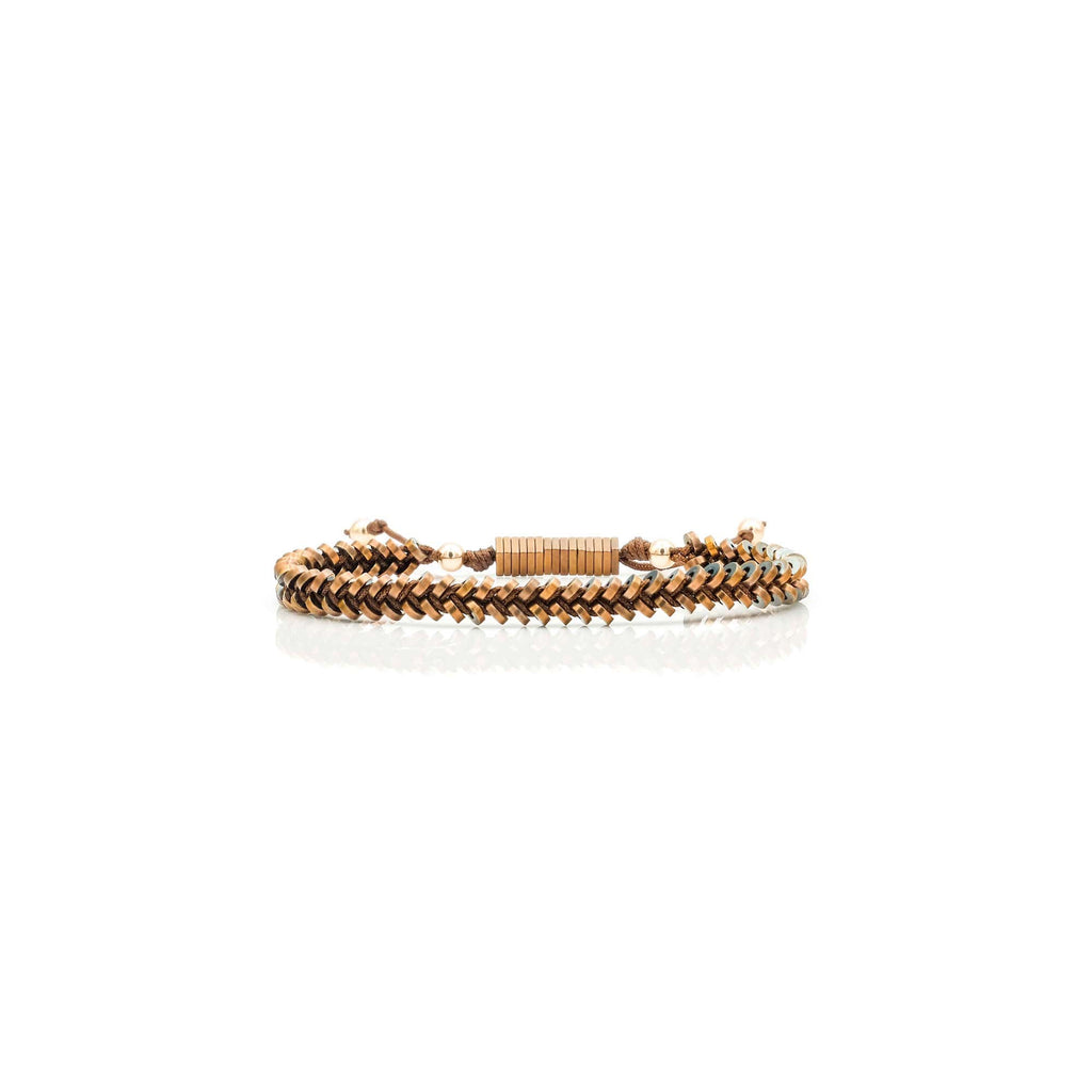 Rose Gold Braided Hematite Bracelet | American Foundation For Suicide Prevention