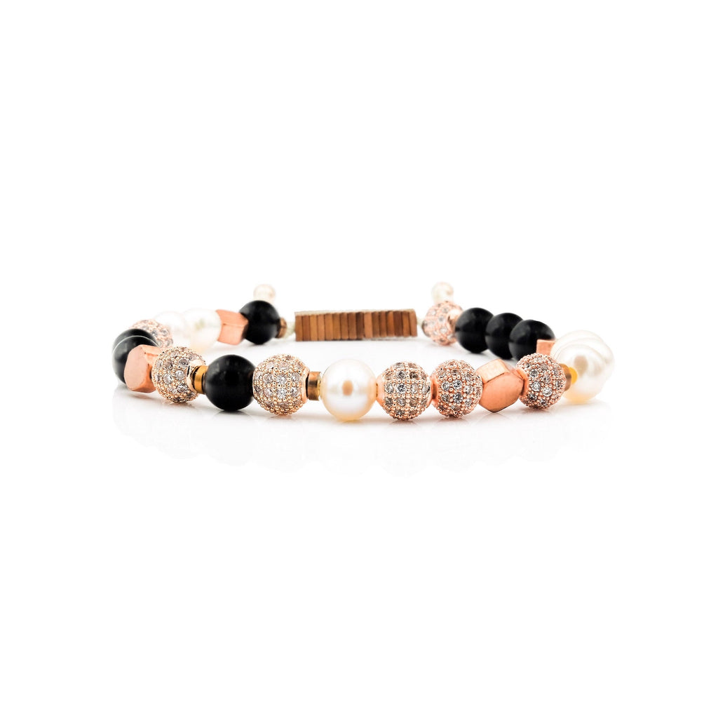 Pearl, Onyx, Hexagon Brass & CZ Diamond Bracelet | Project C.U.R.E.