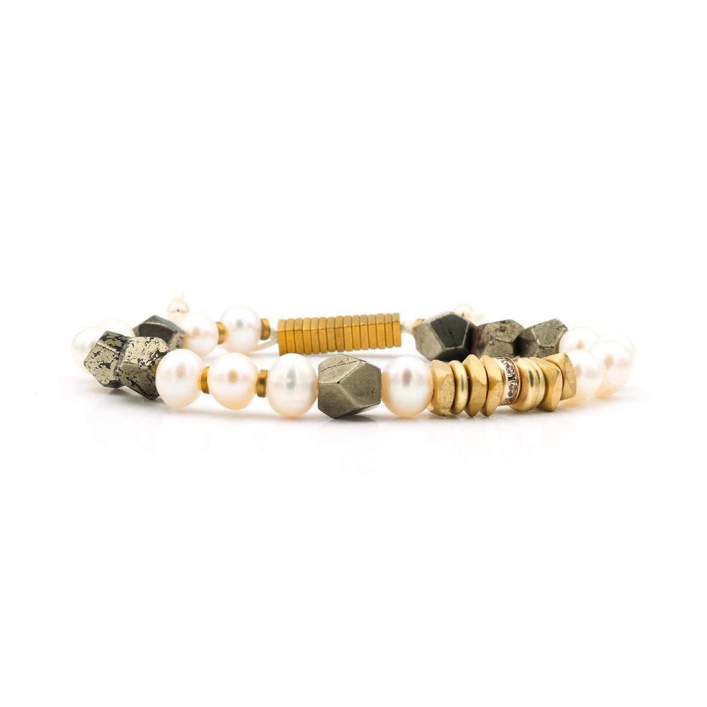 Handcrafted designer stone jewelry bracelet pearl pyrite gold - Popvibe