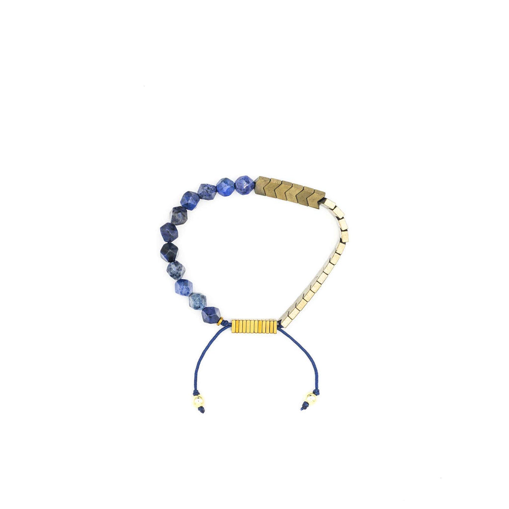 Handcrafted designer stone bracelet with dumortierite gold hematite beads - popvibe