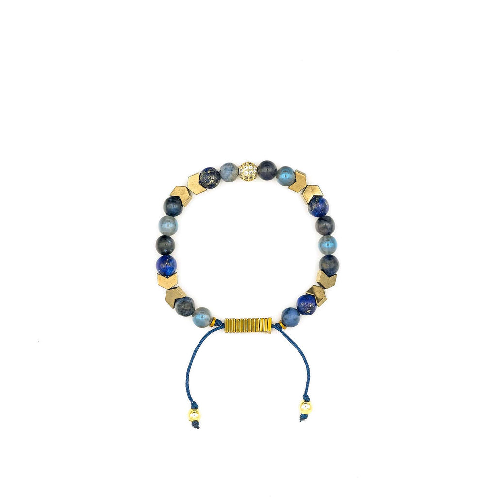 Handcrafted designer stone bracelet with sodalite dumortierite hematite agate beads - popvibe