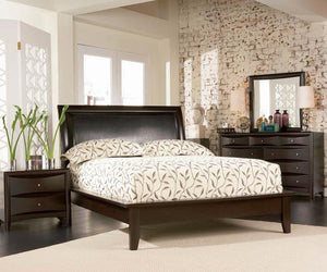 Deep Cappuccino Platform Bed With Faux Leather Panel Headboard