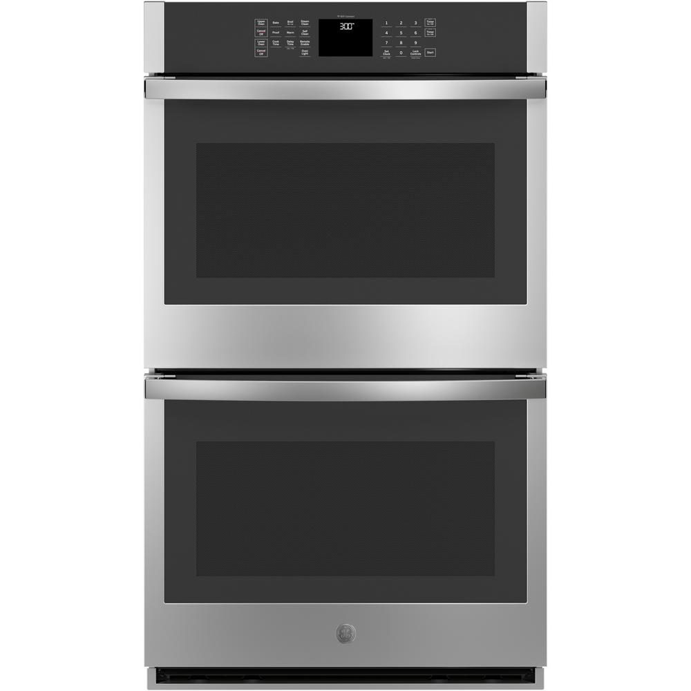 GE 30 in. Smart Double Electric Wall Oven Self-Cleaning in Stainless Steel