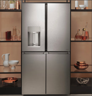 Cafe 27.4 cu. ft. Smart 4-Door Quad French Door Refrigerator in Platinum Glass, ENERGY STAR Model CQE28DM5NS5