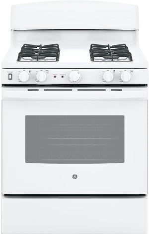 GE 30 in. 5.0 cu. ft. Gas Range with Self-Cleaning Oven in White  jgb450dekww