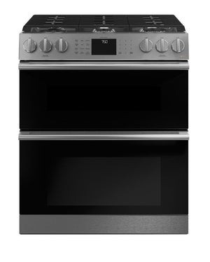 Café 30 in. 6.7 cu. ft. Smart Slide-In Double Oven Gas Range with Self-Cleaning Convection Oven in Platinum Glass Model CGS750M2NS5