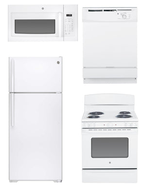 GE Economical 4 Piece Family Kitchen Package In White (Electric)