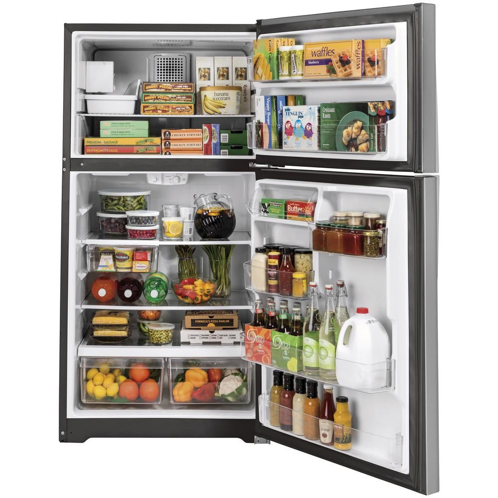 GE 21.9 cu. ft. Top Freezer Refrigerator in Stainless Steel (GIE22JSNBRSS)