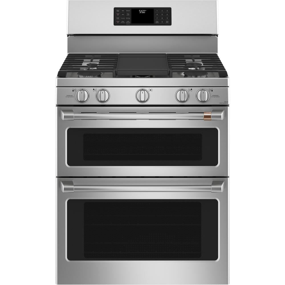 GE Café 30 in. 7.0 cu. ft. Smart Double Oven Gas Range with Steam-Cleaning Convection Oven