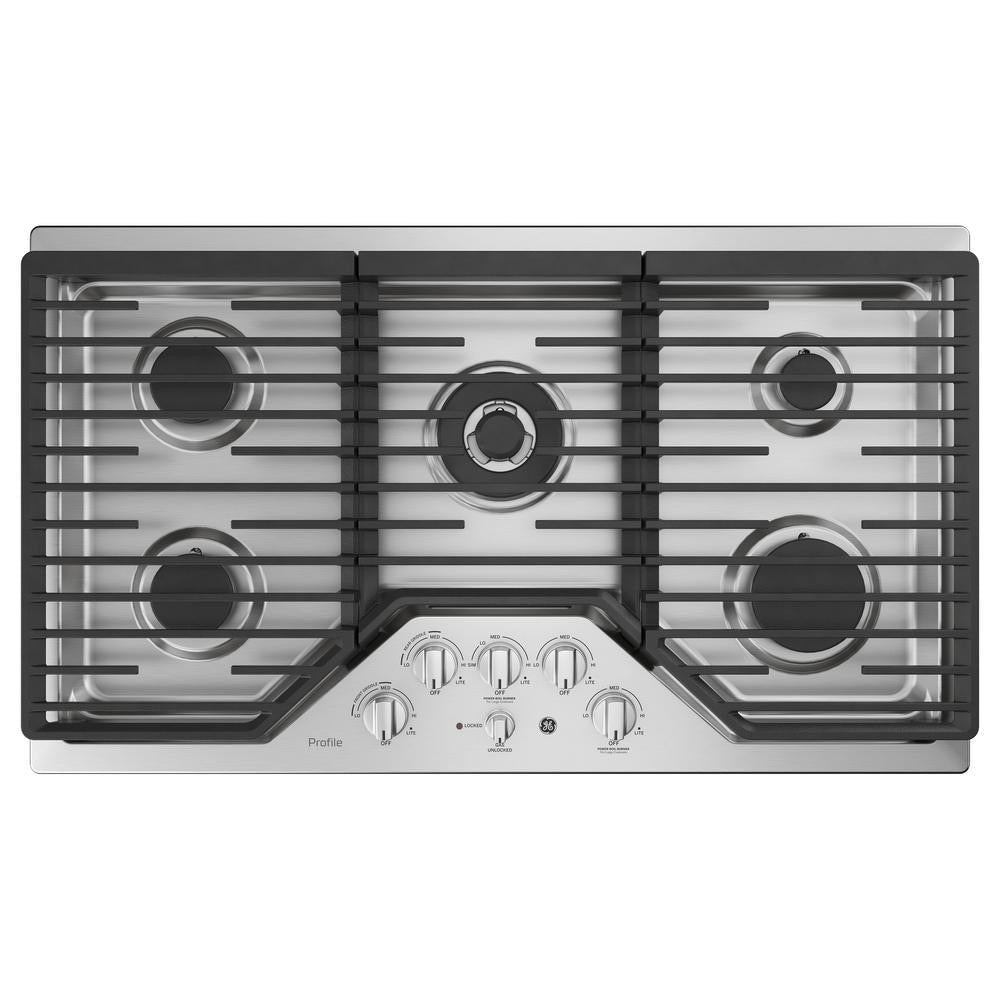 GE Profile 36 in. Gas Cooktop in Stainless Steel with 5 Burners (PGP9036SLSS)