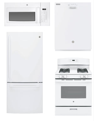 GE 4 Piece Upgraded Kitchen Package In White (Gas)