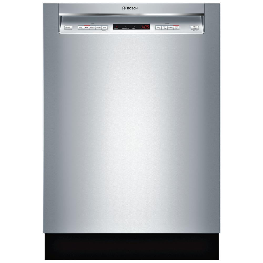 "Bosch - 300 Series 24"" Recessed Handle Dishwasher with Stainless Steel Tub - Stainless steel"