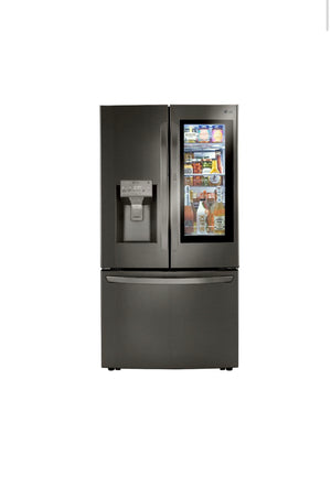 Lg 30 cu. ft. InstaView 3-Door French Door Refrigerator with Craft Ice in PrintProof Black Stainless Steel LRFVS3006D