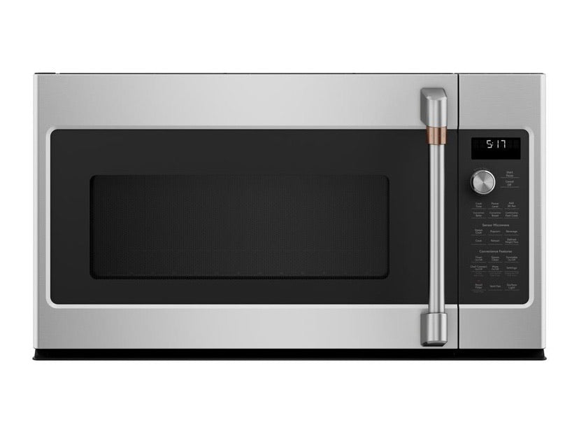 GE Cafe 1.7 cu. ft. Over the Range Convection Microwave in Stainless Steel with Sensor Cooking Model CVM517P2MS1