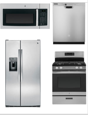 GE 4 Piece Upgraded Stainless Steel Kitchen Package With Side By Side Refrigerator (Gas)