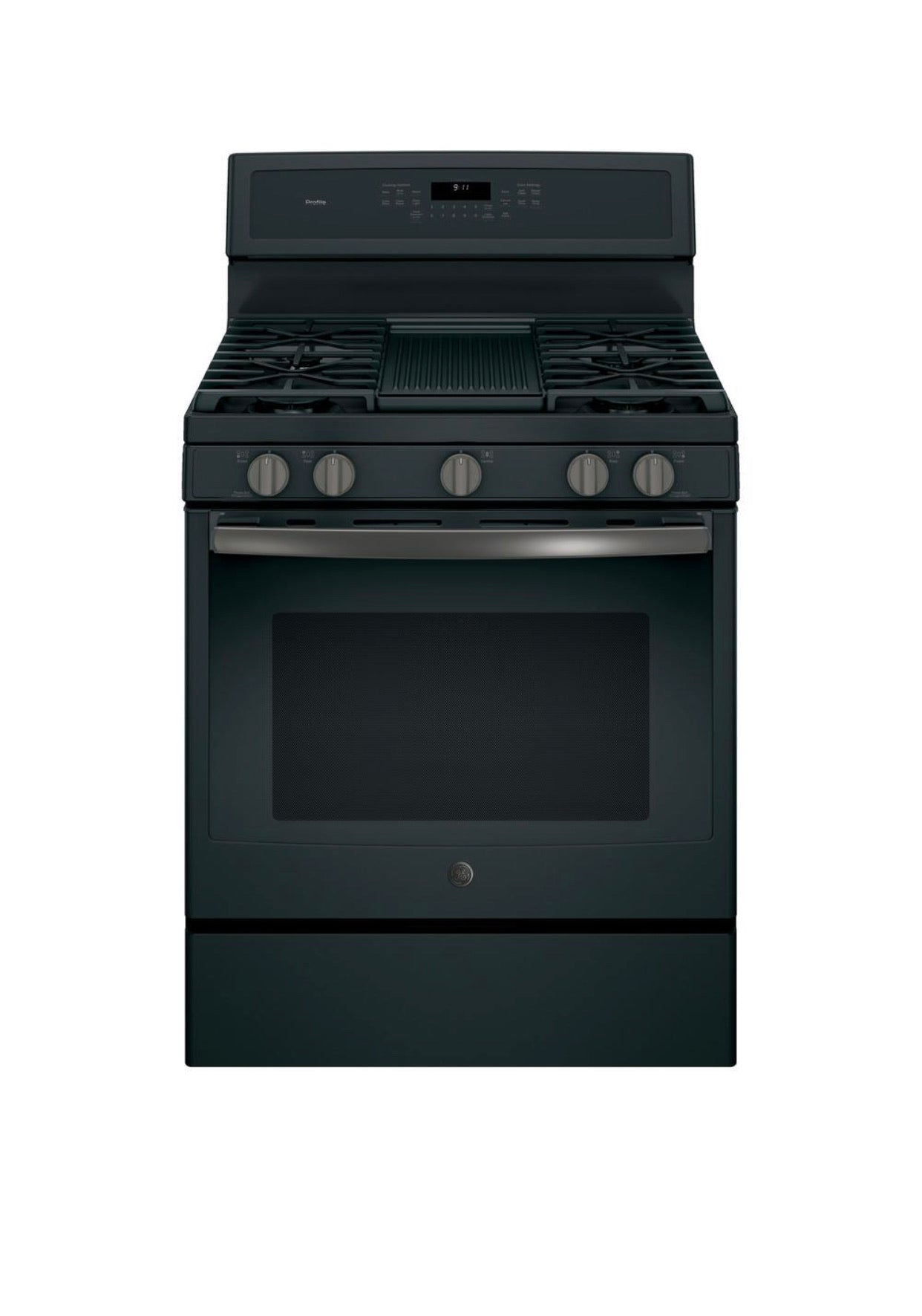GE Profile 30 in. 5.6 cu. ft. Gas Range with Self-Cleaning Convection Oven in Black Slate, Fingerprint Resistant Model PGB911BEJ1TS