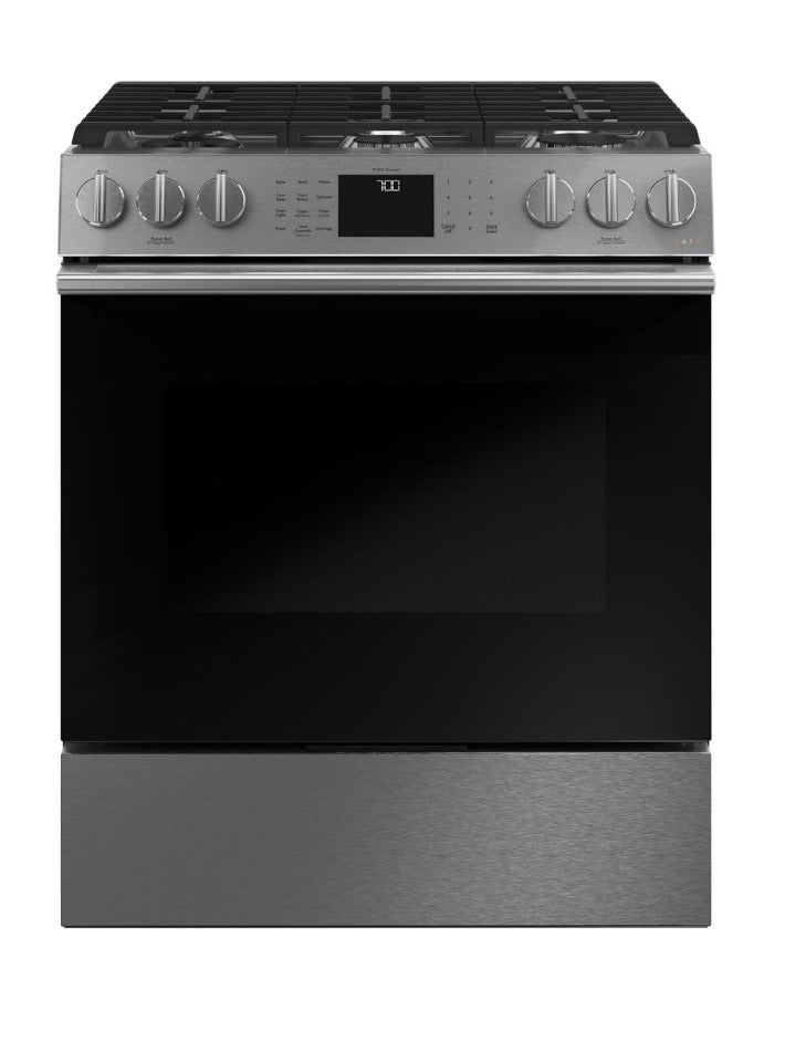 GE Cafe 30 in. 5.6 cu. ft. Slide-In Gas Range with Self-Cleaning Convection Oven in Platinum Glass