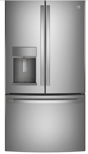 GE Profile 27.7 cu. ft. French Door Refrigerator with Hands Free Autofill in Fingerprint Resistant Stainless Steel model PFD28KYNF