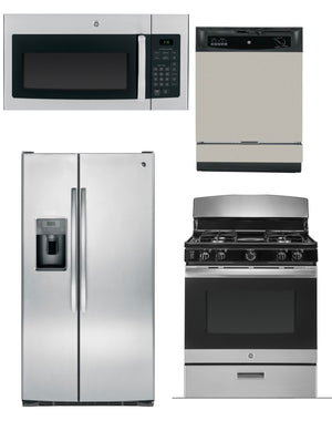 GE 4 Piece Economic Stainless Steel Kitchen Package WIth Side By Side Refrigerator (Gas)