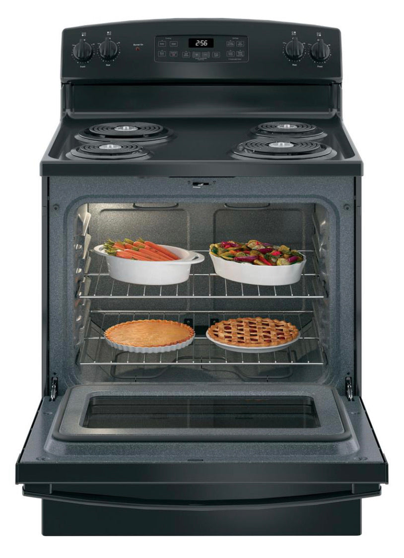 30 in. 5.0 cu. ft. Electric Range with Self-Cleaning Oven in Black JB256DMBB