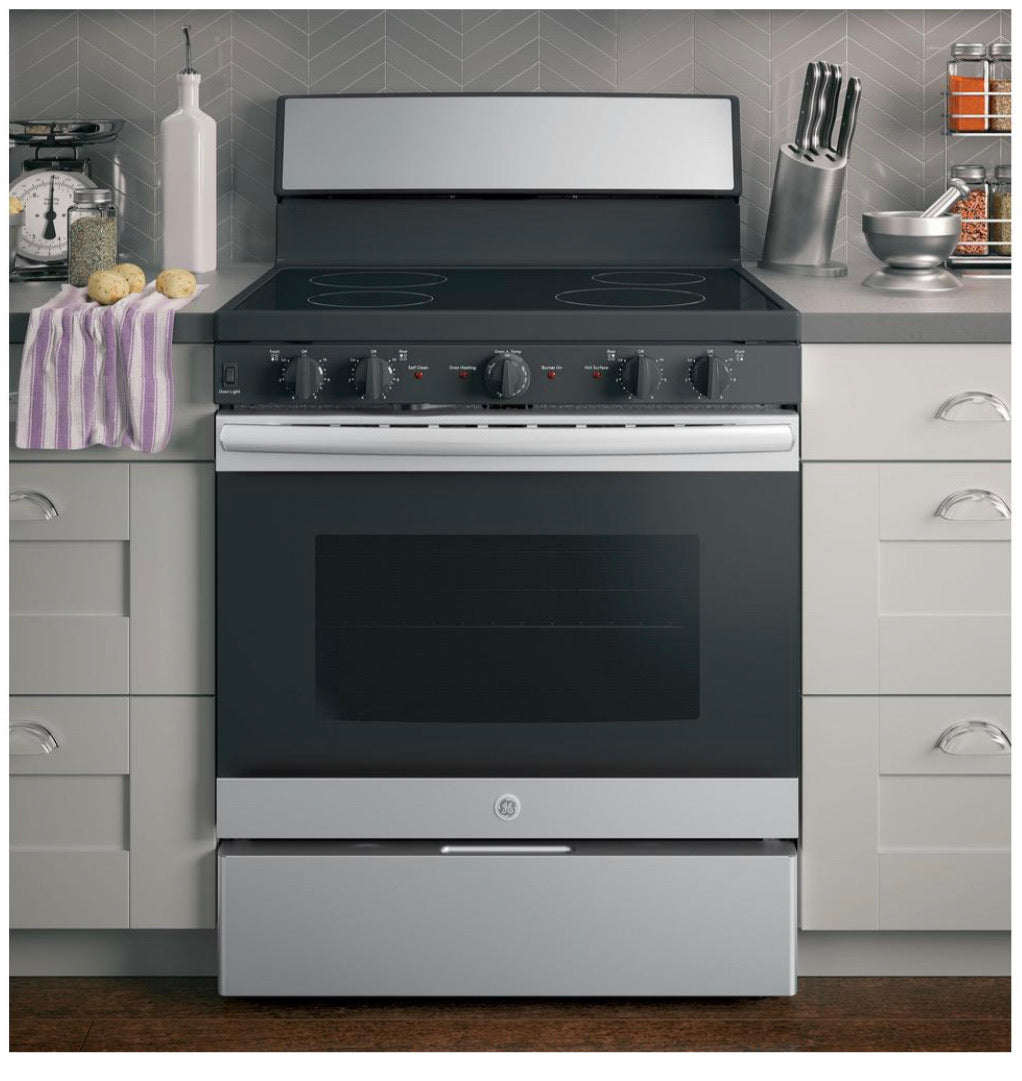 GE 30 in. 5.0 cu. ft. Electric Range with Self-Cleaning Oven in Stainless Steel Model JB480SMSS