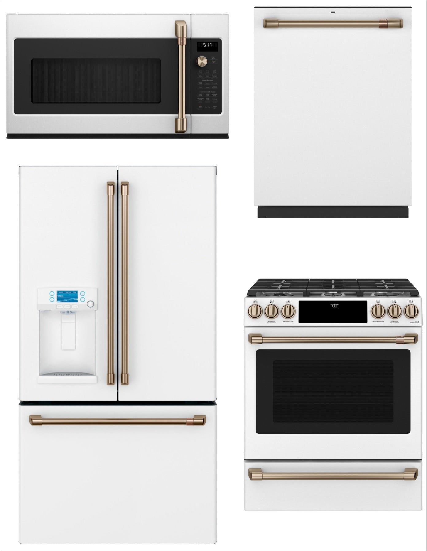 GE Cafe 4 Piece Kitchen Package In Matte White With ...