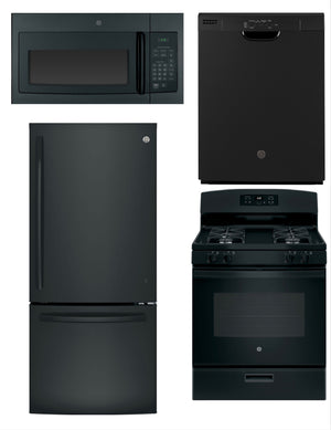 GE 4 Piece Upgraded Kitchen Package In Black (Gas)