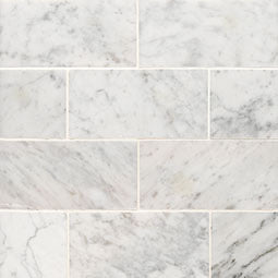 CARRARA WHITE 3X6 HONED MARBLE TILE (SQ FT)