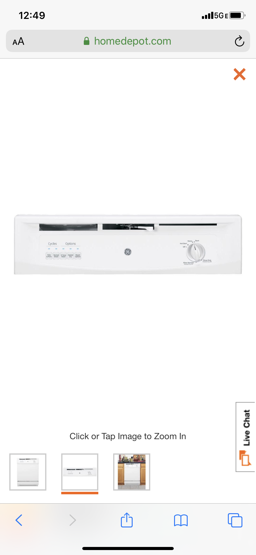 GE Front Control Dishwasher in White, 62 dBA Model GSD3300KWW