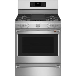 GE Café 30 in. 5.6 cu. ft. Smart Gas Range with Steam-Cleaning Convection Oven (CGB500P2MS1)