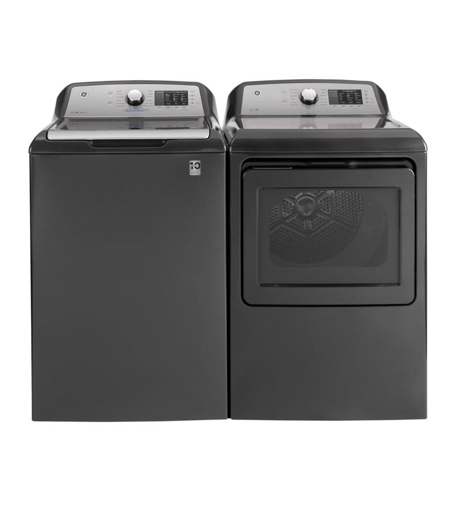 GE 4.8 Cu Ft and 7.4 cu. ft. Diamond Gray Gas Washer and  Dryer Set  with Sanitize Cycle, GTW72GBPNDG/GTD72GBPNDG