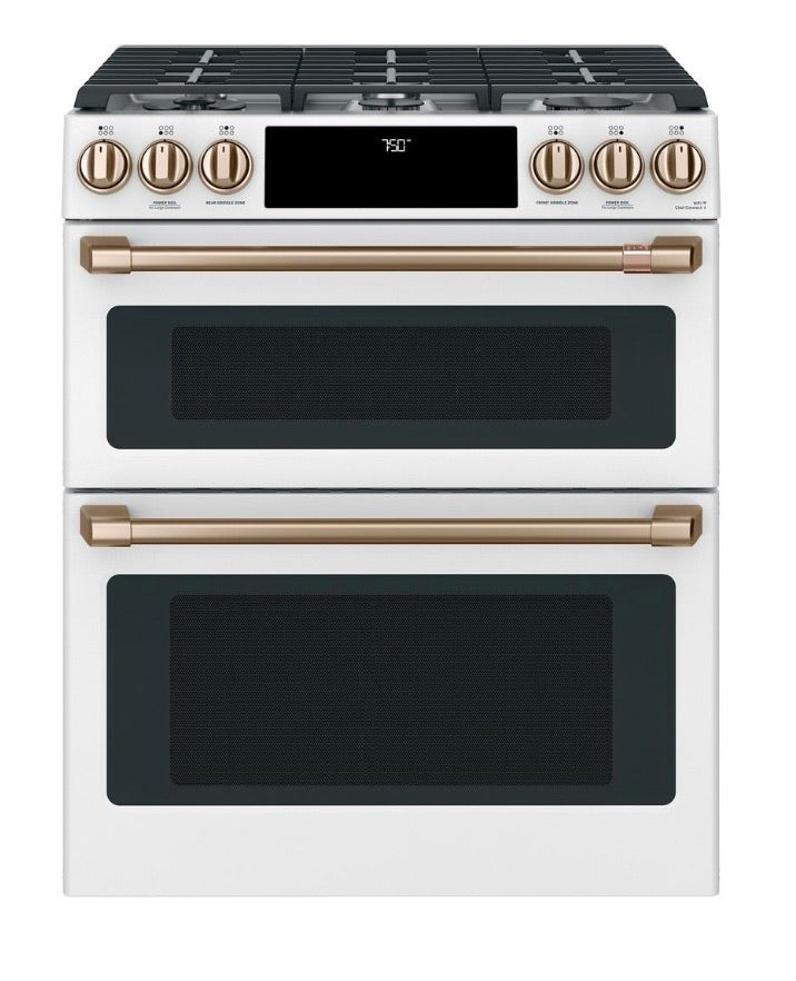 Café 30 in. 6.7 cu. ft. Slide-In Double Oven Gas Range with Self-Cleaning Convection in Matte White, Fingerprint Resistant Model CGS750P4MW2