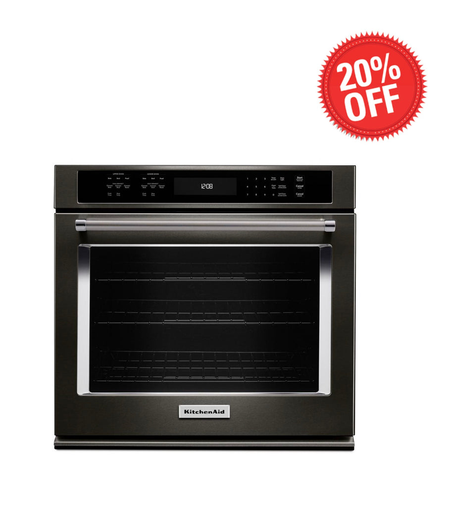 KitchenAid 30 in. Single Electric Wall Oven Self-Cleaning with Convection in Black Stainless