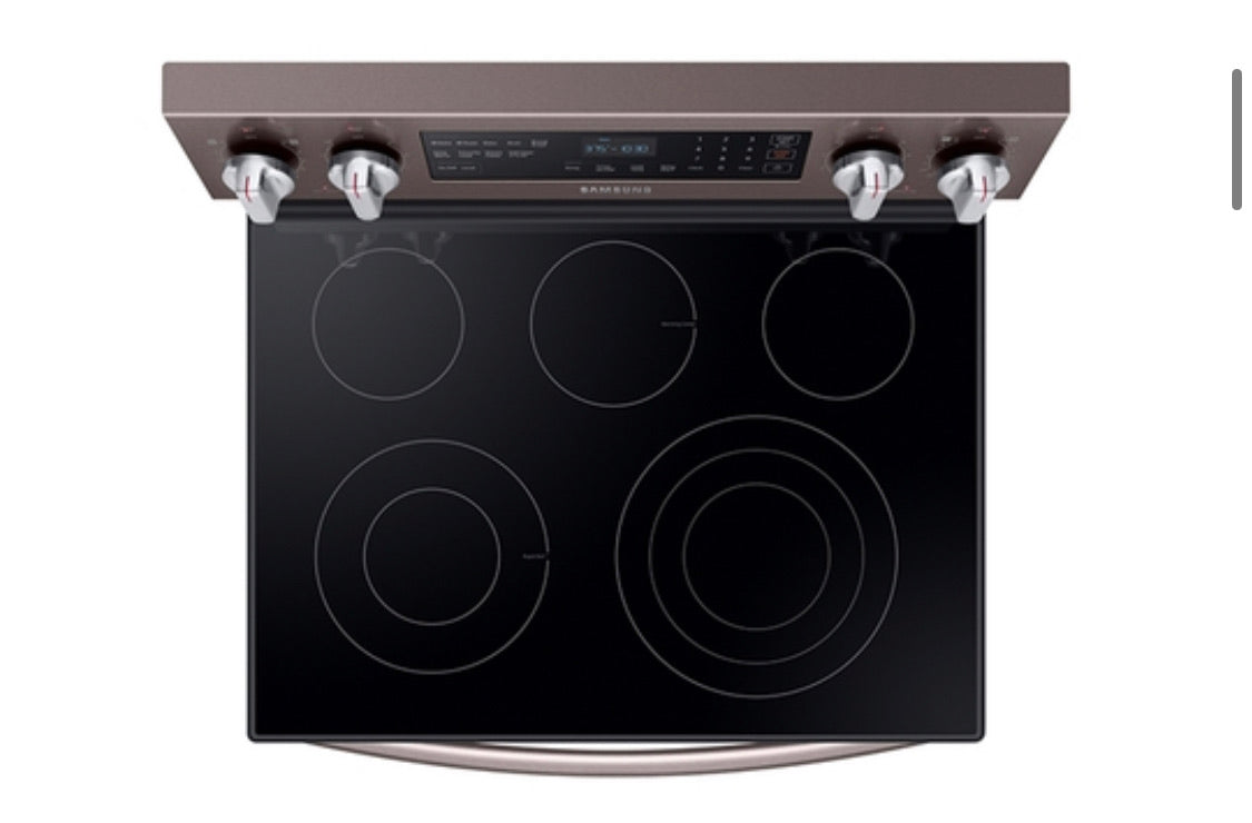 "Samsung 30"" 5.9 Cu. Ft. Freestanding Electric Range with True Convection and Flexible Cooktop - Fingerprint Resistant Tuscan Stainless Steel model  NE59R6631ST"