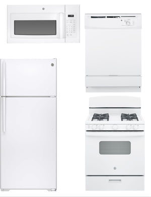 GE Economical 4 Piece Family Kitchen Package In White (Gas)