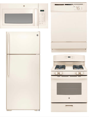 GE 4 Piece Kitchen Package in Bisque Color (Gas)