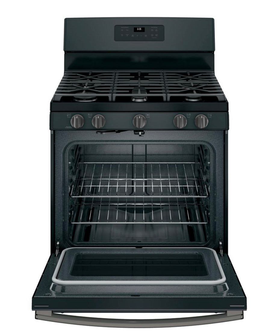GE 30 in. 5.0 cu. ft. Gas Range with Self-Cleaning Oven in Black Slate, Fingerprint Resistant Model JGB660FEKDS