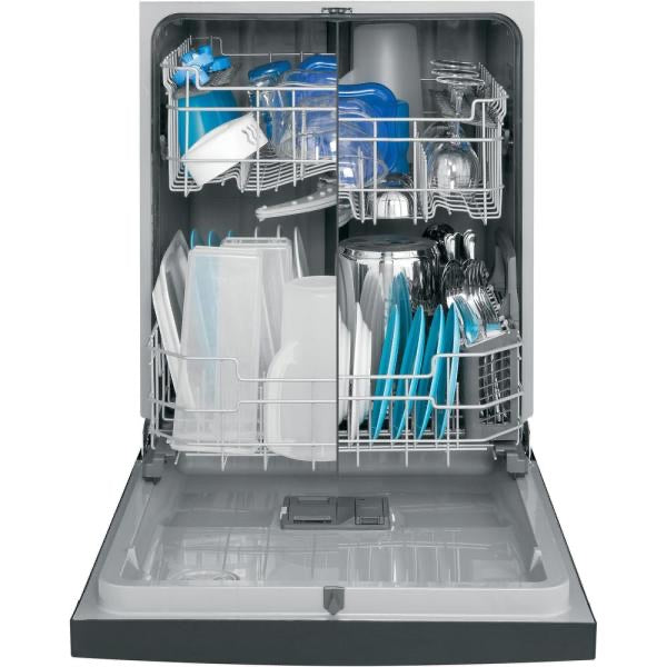GE 24 in. Front Control Built-In Tall Tub Dishwasher in Black with Stainless Interior Door and 3rd Rack (GDF640HGMBB)
