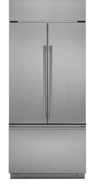 Monogram 36 in. W 20.6 cu. ft. French Door Refrigerator in Stainless Steel, Counter Depth model ZIPP360NHSS