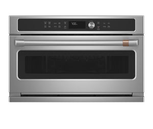 GE Cafe 30 in. 1.7 cu. ft. Single Electric Convection Wall Oven with Built-In Microwave in Stainless Steel Model CWB713P2NS1