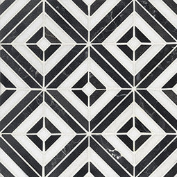 Rhombix Nero Marble Geometric Pattern (SQ FT)