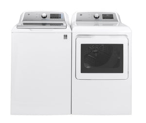 GE 4.8 Cu ft High- Efficiency Top Load  White Washing Machine / 7.4 Cu.ft Smart 120 Volt Electric Dryer