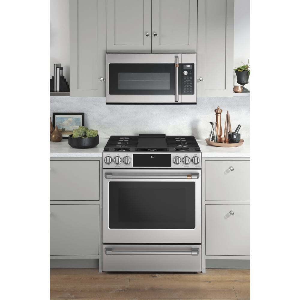 GE Cafe 30 in. 5.6 cu. ft. Smart Slide-In Gas Range with Self-Cleaning Convection Oven in Stainless Steel Model cgs700p2ms1