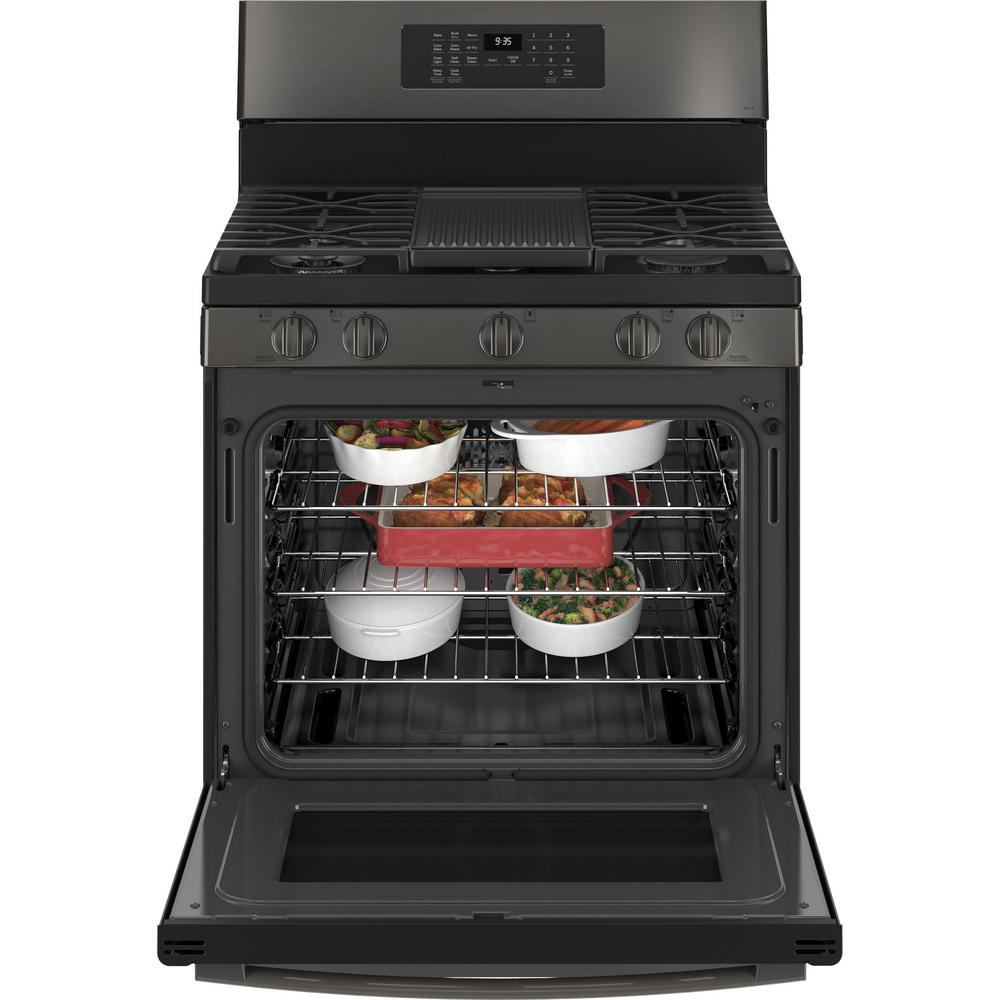 GEProfile 30 in. 6.4 cu. ft. Gas Range in Black Stainless (pgb935bpts)